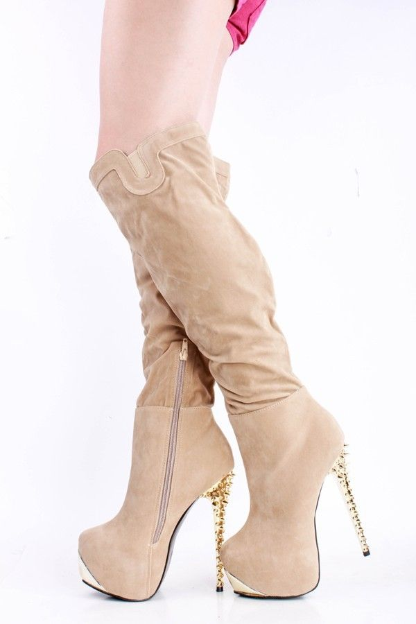 159.00$  Watch here - http://alip48.worldwells.pw/go.php?t=32398145290 - Cheap Natural Color Transparent High Heel Autumn Pumps Flocking Party Shoes Knee High Boots Zipper Platform Ladies Shoes