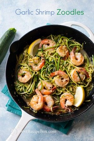 Garlic Shrimp Scampi Zucchini Noodles Recipe Low Fat and Healthy