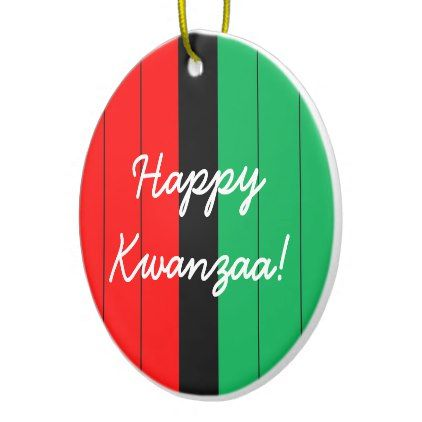 Happy Kwanzaa Red Black Green Striped Pattern Ceramic Ornament - home gifts ideas decor special unique custom individual customized individualized