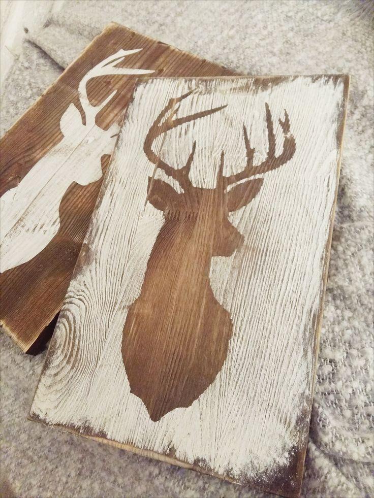 Deer | Rustic Style | Wooden sign | Woodland | Farmhouse| Handmade | Jeleń | Styl rustykalny | Obraz na ścianę | Obrazy & obrazki | Woodsy