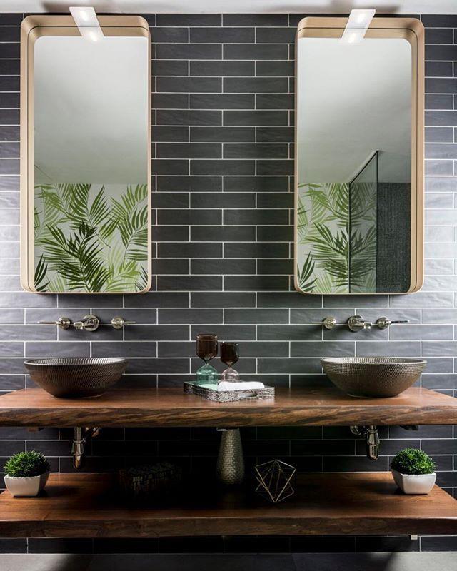 Quadruple Trend Hitter Natural Materials Bold Basins Contrasting Materials Dark Tiles Double Basins A Amazing Bathrooms Countertop Basin Dark Bathrooms