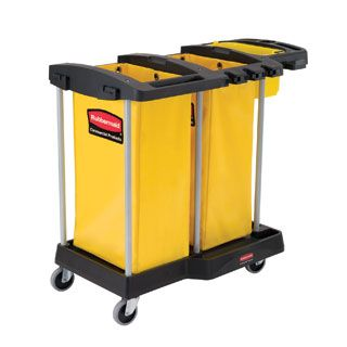 Compact waste and cleaning cart