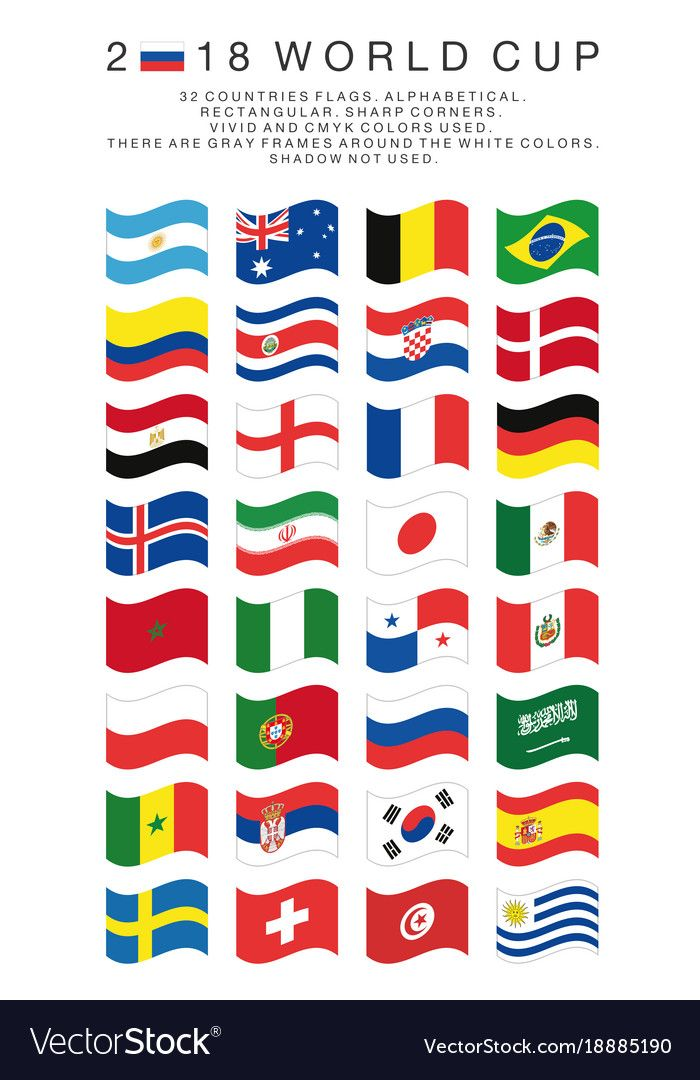 Rectangular Flags Of 2018 World Cup Countries Vector Image On Vectorstock World Cup World Cup Teams World Cup 2018 Teams