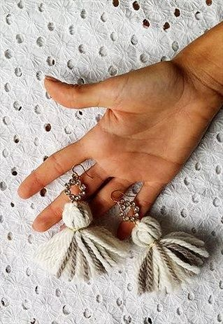 Mint -MELINE BICOLOR - EARRINGS WITH BICOLORED WOOL TASSELS Orecchini Lana Nappe