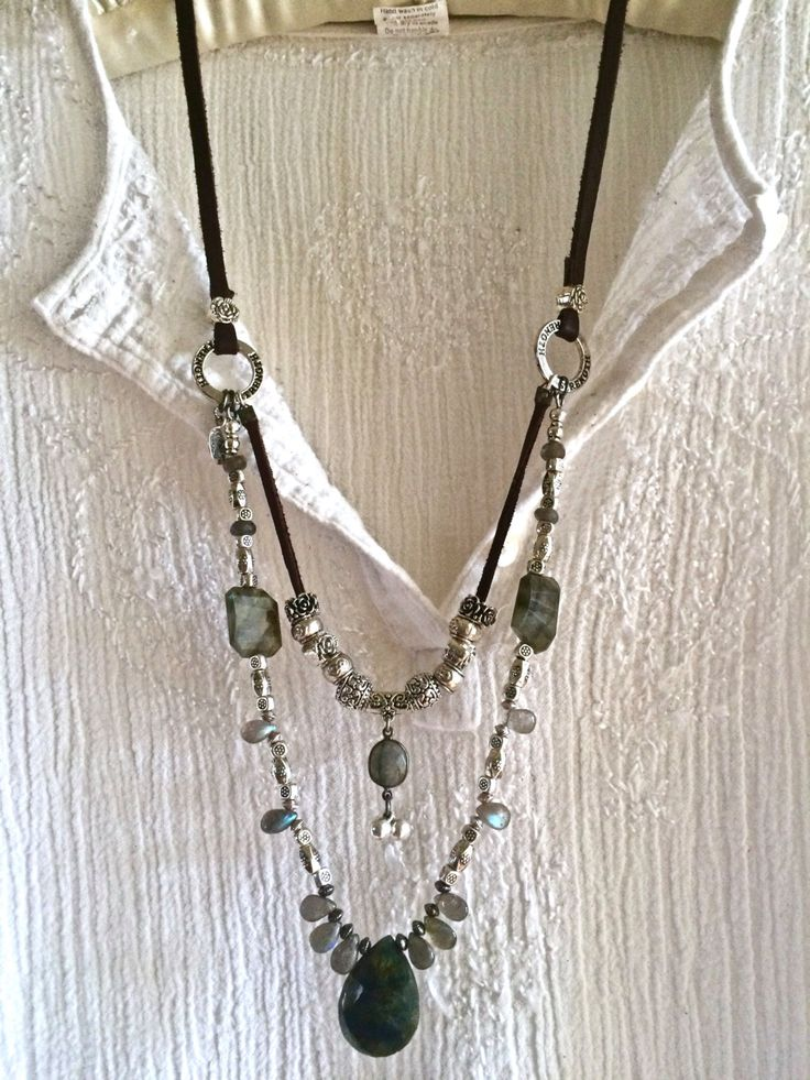 Labradorite luxe- double strand leather necklace rare blue gray silver beads…