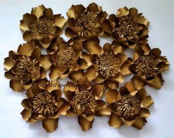 Fondo de flores de papel para mesa dulce, decoración de mesa de postres, flores de papel de oro, Telón de fondo de flor papel, Telón de fondo flor papel de oro