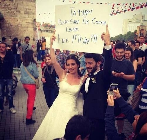 """This couple says """"Tayyip do you want there more children like us?"""" (He was saying that every family should have at least 3 children)"""