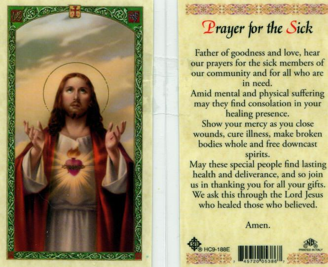 Healing Prayers For The Sick | Sick Healing Cure Illness Holy Cards HC188 Catholic Prayer Card