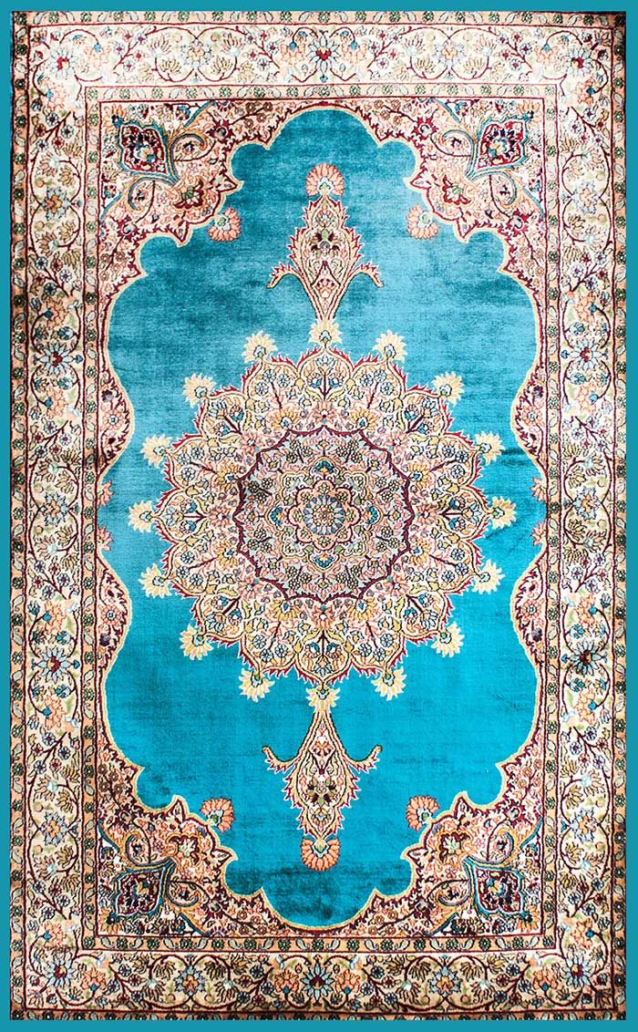 5 by 3 pure silk rug Blue Jewel Kerman Shah from India