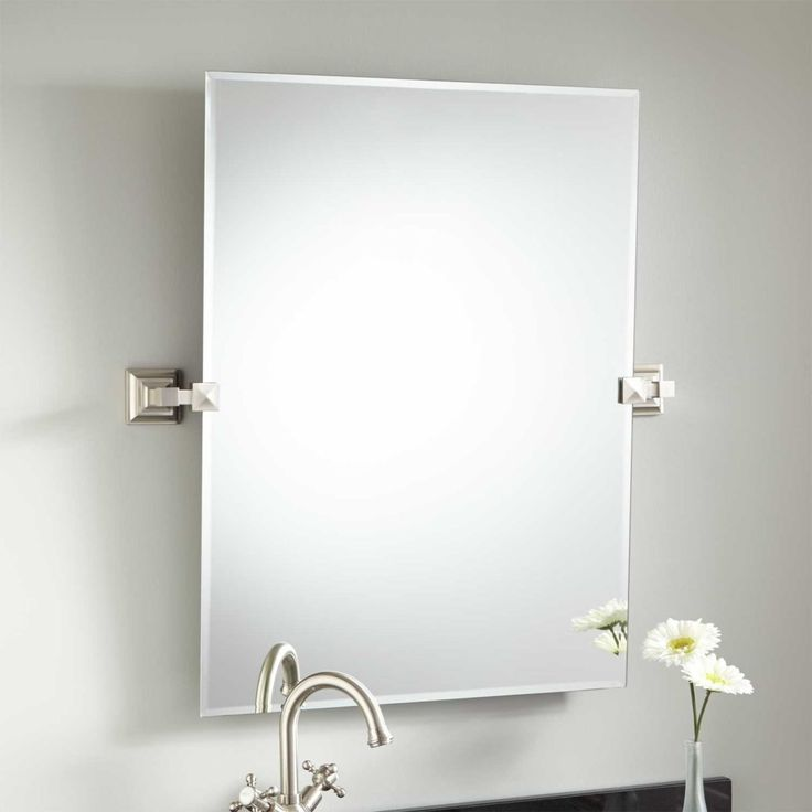 Photo Gallery Website The Falkland Rectangular Tilting Mirror features tasteful brackets that plement your bathroom Both brackets contain a premium finish and mount securely