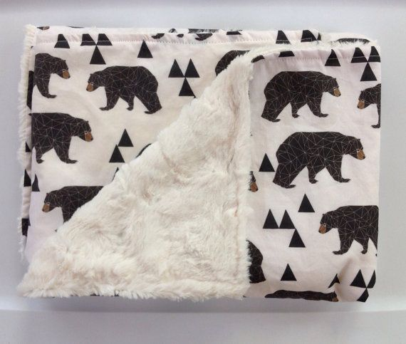 Woodland Baby Bear Minky Blanket-Outdoor Lumberjack Rustic Cabin-Modern Geometric Boy Nursery-Baby Shower Gift-Baby Crib Bedding