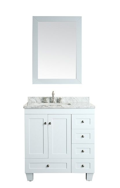 Eviva Acclaim Caroline White Bathroom Vanity Set With OffSet Sink White  Carrera Marble Top    Learn More By Visiting The Image Link.