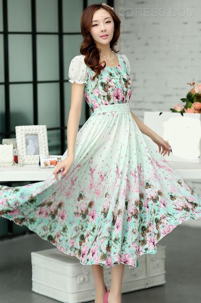 Ericdress Bohemian  Vintage Print Maxi Dress (this is a great website!)