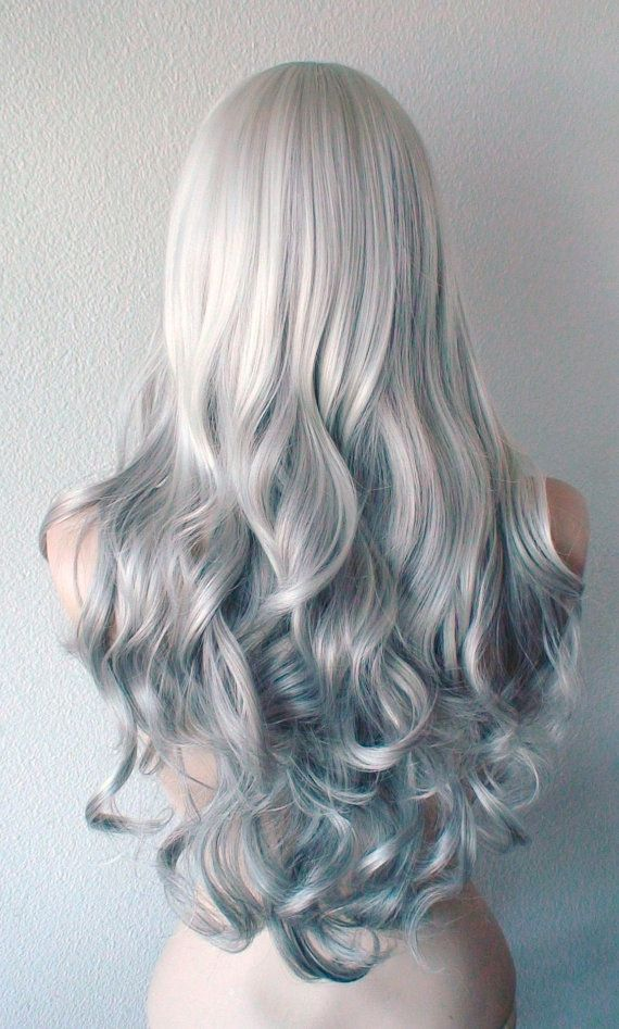 Gray hair ombre long curly hairstyle wig. by kekeshop on Etsy