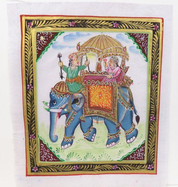 India Silk Painting Jaipur Elephant Left by 13thStreetEmporium, $18.00