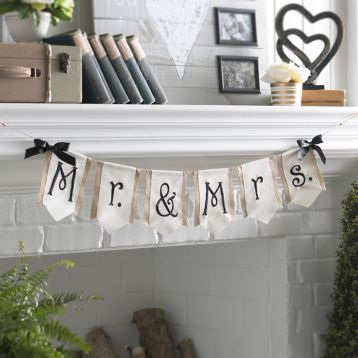 Mr. & Mrs. Burlap Pennant Banner