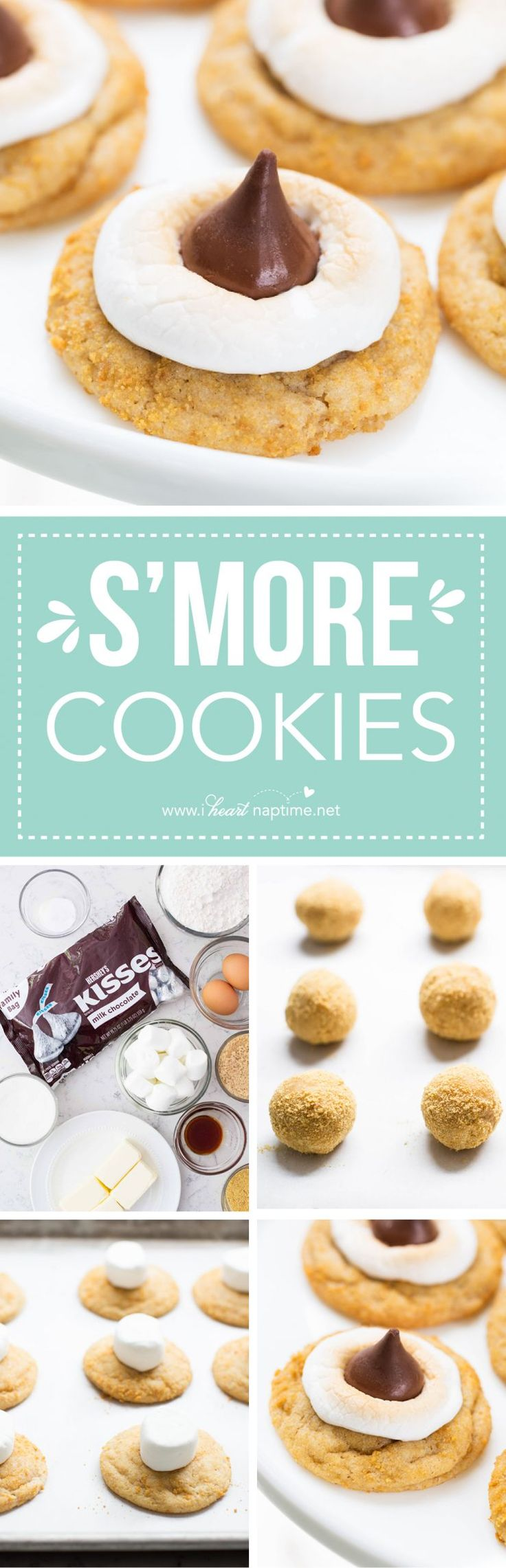 S'mores Cookies... a delicious summery treat with a buttery graham cracker dough, a gooey marshmallows, and a HERSHEY'S KISS chocolate…