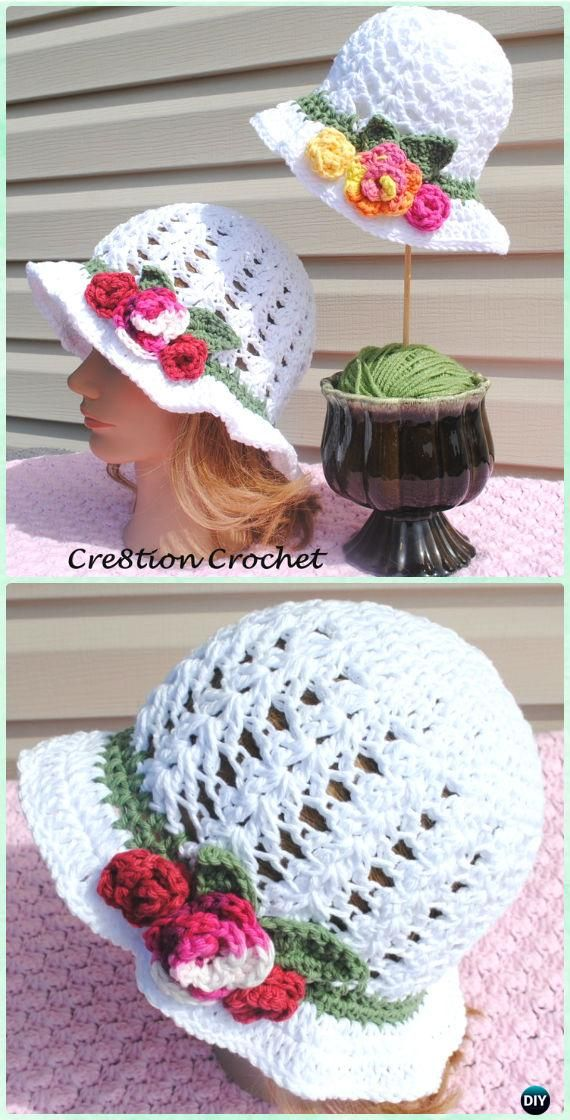 Crochet Spring Shell Stitch Sun Hat Free Pattern -  #Crochet; Adult Sun #Hat Free Patterns