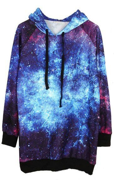 Blue Drawstring Hooded Long Sleeve Galaxy Sweatshirt >>> Is it wrong that I'm kind of digging this?