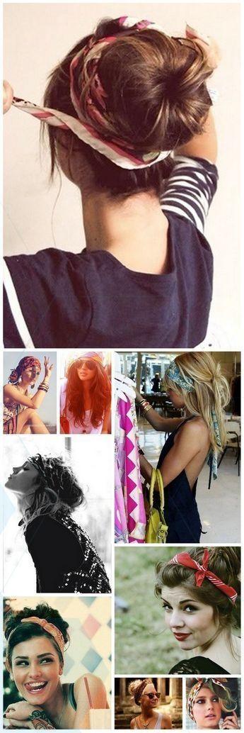 Großartig Unglaublich Hairdressing with a scarf, headdress long hair scarf and medium length hair, …, # hair #coiffer #fashion #foulard