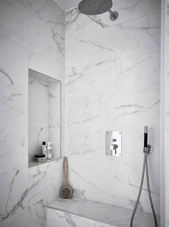 Marble Again But This Muted Matte Shower Tile Takes The Cake This