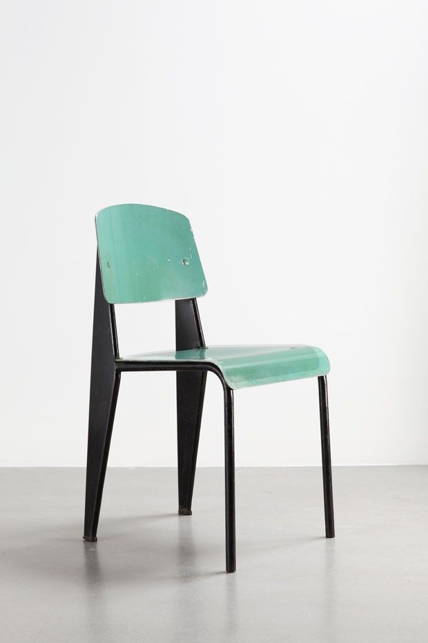 Jean Prouvé - Métropole (1953), cadeira com assento e encosto de alumínio