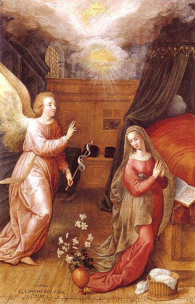 Anunciación a María. Tabla flamenca pintada en 1584 por Gillis de Coingnet. Catedral de Santamaría La Redonda (Logroño)