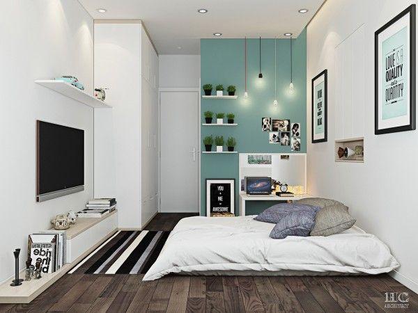 A cama de dossel negrito pode ser bom para alguns, mas um local confortável no chão é suficiente para os outros.  Este quarto simples, subtil inclui uma cama de plataforma baixa e adorável sotaque parede turquesa.  Há algo acolhedor, e confortavelmente sobre a decoração feminino, também.