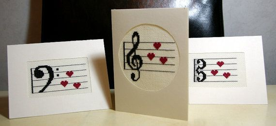 Greeting Cards, Music Greeting Cards, Cross Stitch Valentine Cards, Set of 3 Greeting Cards - Sold Item