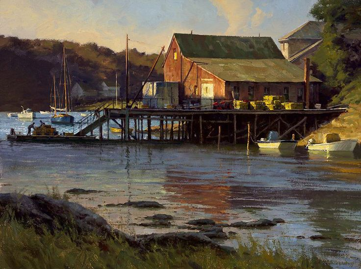 "Donald Demers    ""Last Light, Cosy Harbor""  12x16 - oil"