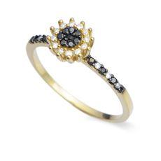 Anel Ouro Amarelo e Diamante Melindre