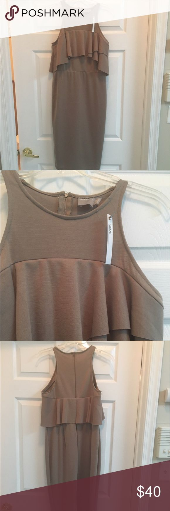 NWT ASOS bodycon dress with ruffle detail - size 8 Cool and easy bodycon dress made out of a heavy jersey fabric. Great for summer time night out or even work. Never worn, great neutral color ASOS Dresses Midi