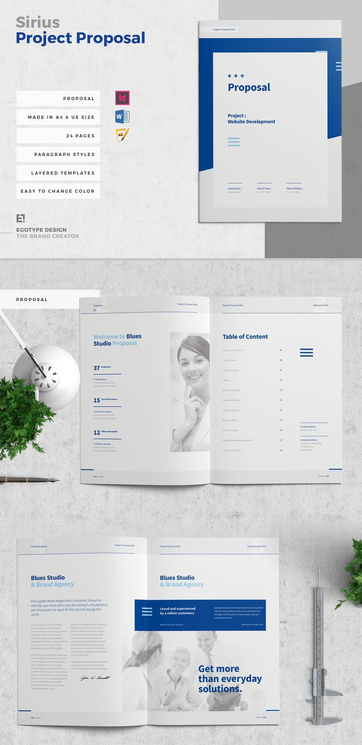 Minimal and Professional Proposal Brochure template for creative businesses, created in Adobe InDesign, Microsoft Word and Apple Pages in International DIN A4 and US Letter format.
