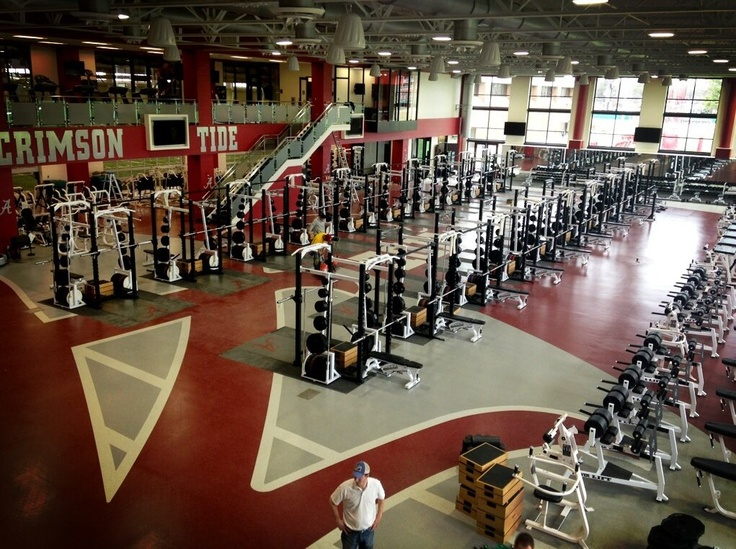 Work being finalized on Alabama football's new weight room. Must say, IMPRESSIVE! This photo of the new 34,000-square-foot, $ 9 million weight room was uploaded to Twitter by Crimson Tide linebacker Matt Tinney, and let's just say that calling the facility state-of-the-art is an understatement.  The two-story strength and conditioning facility that will serve as head conditioning coach Scott Cochran's laboratory. The weight room is not just for football, will serve all Bama sports teams.