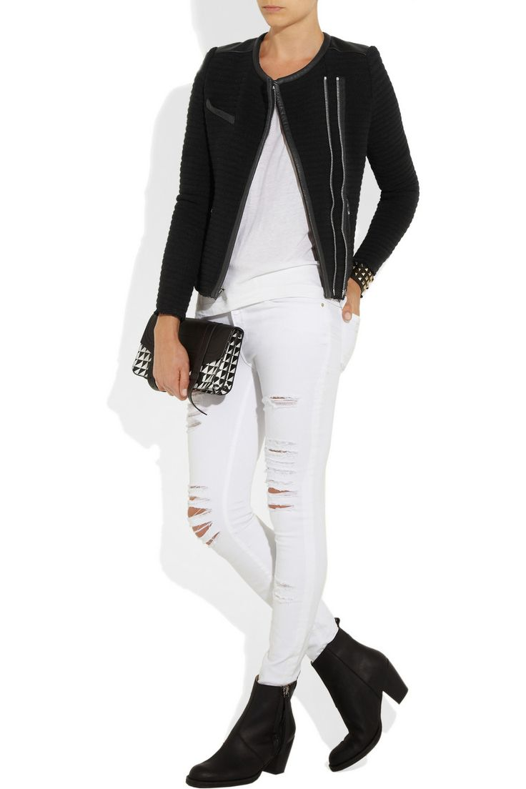 IRO   Maiden leather-trimmed quilted crepe jacket   NET-A-PORTER.COM