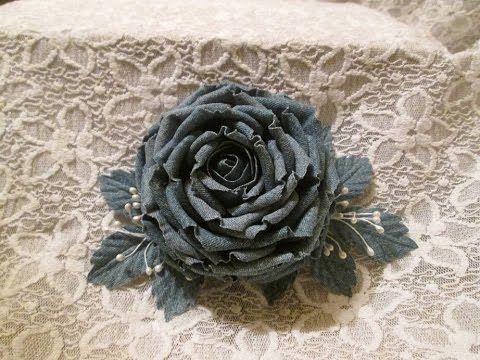 1) Как сделать большую розу из  джинсовой ткани своими руками /1 часть/ ...