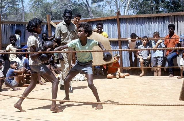 Aboriginal children boxing Bamaga 1969 Carnemolla169