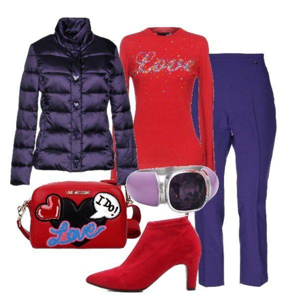 timeless design 7ccda 97e88 Piumino viola, modello corso, pullover rosso con stampa ...