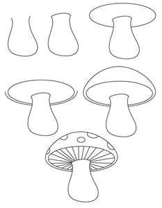 How To Draw A Mushroom step-by-step (kids, art lesson)