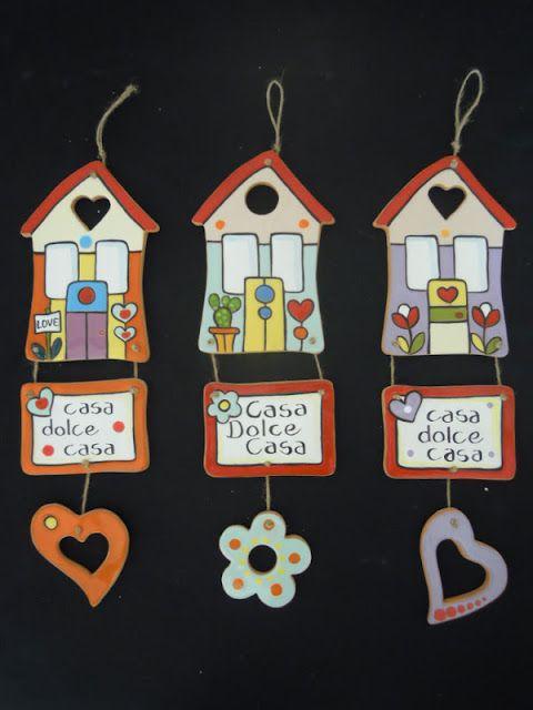 ceramica come mestiere: Casa dolce casa....deliziosi decori da appendere.