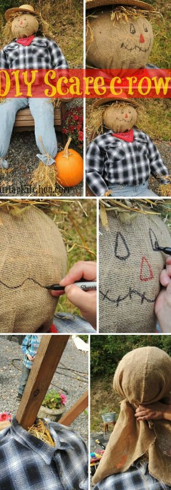 I didn't have a second post for this week until I went to my moms house and caught her making this! Thanks to my mom I am going to show you step by step how she made this adorable scarecrow using a bale of hay and some of my dads old clothing