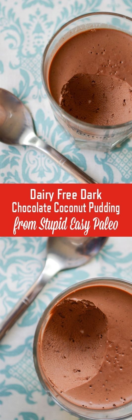 Dairy-Free Dark Chocolate Coconut Pudding is rich, chocolatey, and so simple to make. It's paleo friendly and boosted with gut soothing gelatin. Make these as a decadent dessert that's healthy at the same time.   StupidEasyPaleo.com