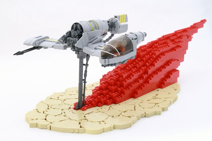 https://flic.kr/p/TURyex | Resistance Skimmer | This is speeder from the new Star Wars: The Last Jedi trailer. Director, Rian Johnson has confirmed that this is a speeder from the planet Crait, where a old rebel base once existed. Crait is a red mineral planet covered in salt, the hook on the bottom of the ship is digging up the red dust as it flies by.  The build itself was very interesting to make. The trailer had just under 6 seconds of blurry video for me to use as a guide, so as hard…