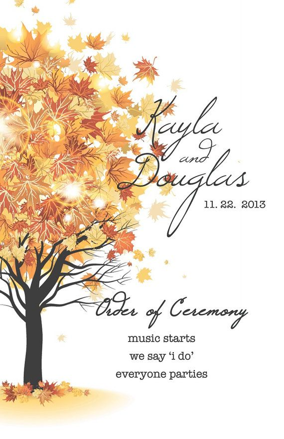 Fall Wedding Program and Reception Placards on Etsy 75