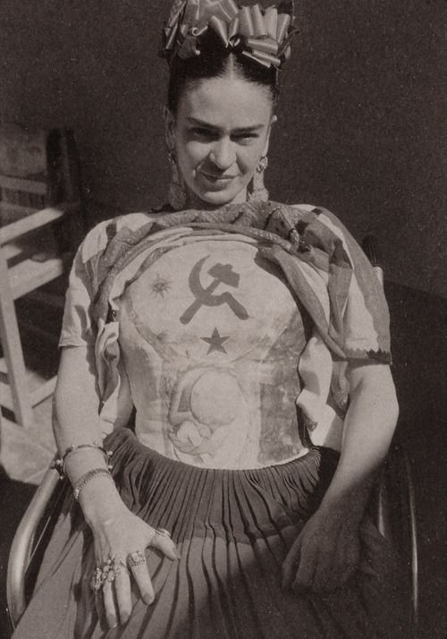 Frida Kahlo. Ever defiant, she used her chest cast in hospital as a canvas