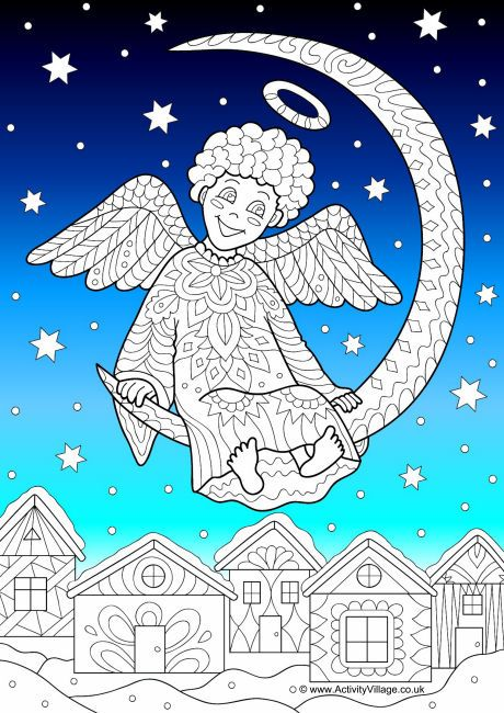 This Little Angel Swings On The Moon In Starry Sky Above A Twinkling Christmas Village So Pretty We Have Coloured Background That You Can