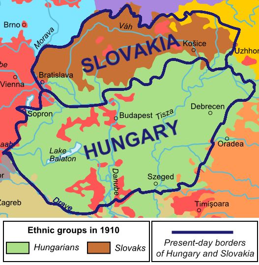 Ethnic map of Slovakia and Hungary in 1910, with current borders