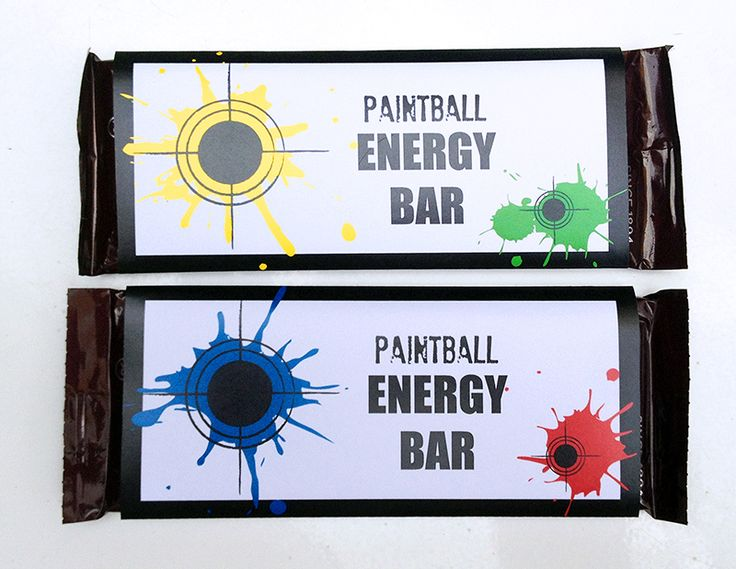 Paintball Birthday Party Candy Bar Wrappers