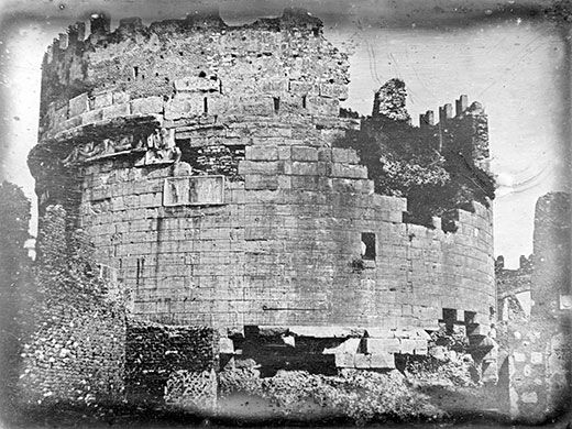 The Tomb of Caecilia Metella, daughter of a Roman consul. This 1841 daguerreotype is one of the earliest known photographs of Italy.