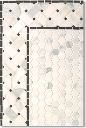Calacatta Hexagon with Basketweave Border contemporary bathroom tile